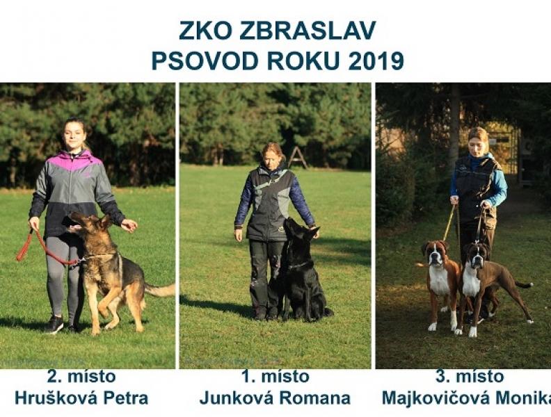 Výsledky soutěže – Psovod roku 2019